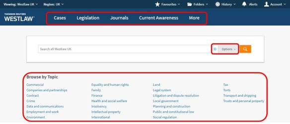 Westlaw UK new look homepage: